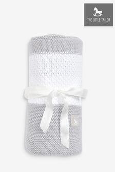 The Little Tailor - Grijze babydekensjaal met textuurstreep