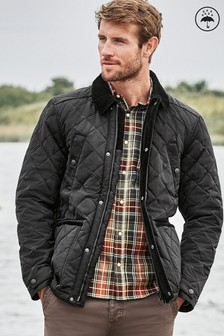Shower Resistant Diamond Quilted Funnel Neck Jacket (242781) | $94