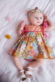 花朵混合印花洋裝、女性內褲及頭帶套裝 (0個月至2歲)