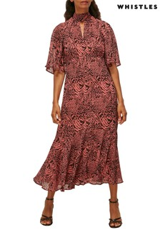 Whistles Pink Desert Zebra Printed Midi Dress