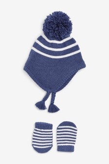 Stripe Knitted Trapper Hat And Mitten Set (0mths-2yrs)