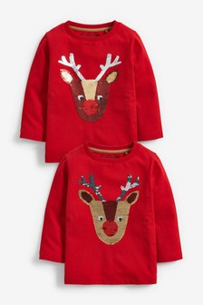 Long Sleeve Reindeer Flippy Sequin Jersey T-Shirt (9mths-7yrs)