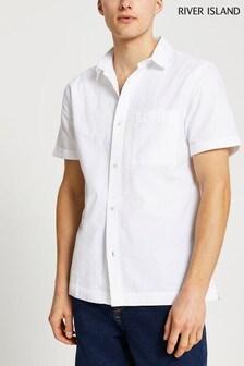 River Island - Wit seersucker overhemd met korte mouwen
