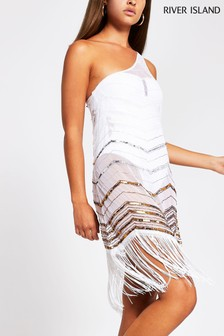 River Island White One Shoulder Beach Cover-Up