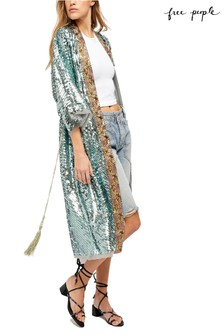 Free People Green Print Duster Jacket