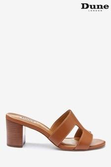 Dune London Joupe Tan Leather Smart Slide Heeled Sandals