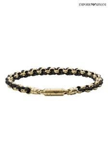 Emporio Armani Black Essentials Gold Tone Weave Bracelet
