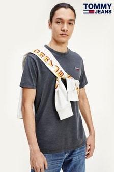 Tommy Jeans T-Shirt mit Logo, verwaschenes Schwarz