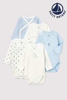 Petit Bateau White/Blue Bodysuits Five Pack
