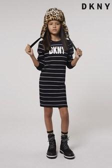 DKNY Black Stripe Logo Dress