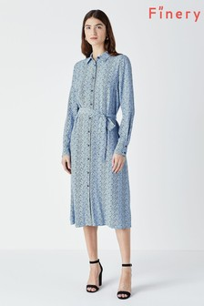 Finery Blue Cherbury Shirt Dress
