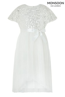 Monsoon Ivory Truth Pleated Dress