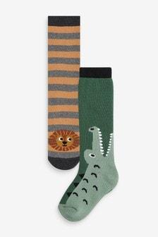 Набор из 2 пар хлопковых носков для резиновых сапог с крокодилом и львом (Младшего возраста)