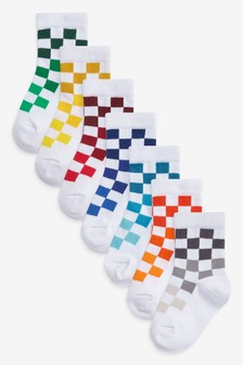 7 Pack Cotton Rich Check Socks (Younger)