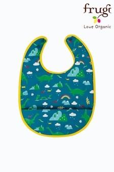 Frugi Blue Recycled Nessie Print Sleeveless Catcher Bib