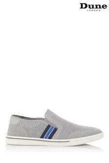Dune London Tycoon Grey Fabric Knit Stripe Slip-On Shoes