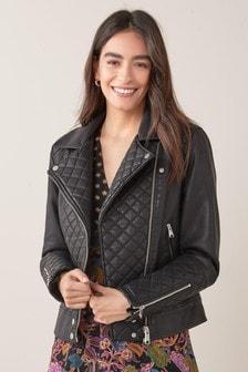 Prešívaná motorkárska bunda z umelej kože