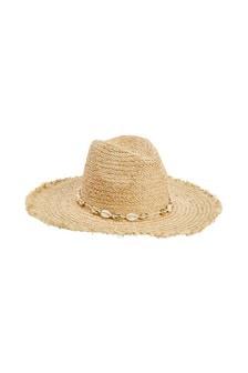 Pălărie cu bor lat și franjuri scurte