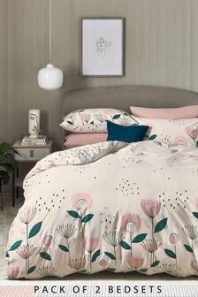 2 Pack Natural Cotton Rich Retro Floral Duvet Cover And Pillowcase Set