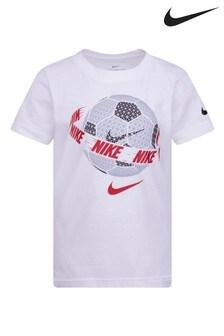 חולצת טי כדורגל לילדים קטנים של Nike  בצבע לבן