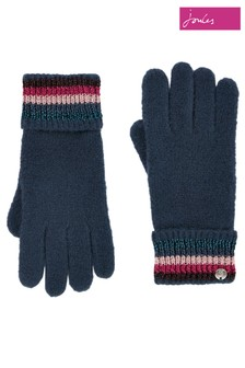 Joules Blue Vinnie Knitted Gloves