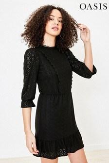 Oasis Black Broderie Prarie Dress