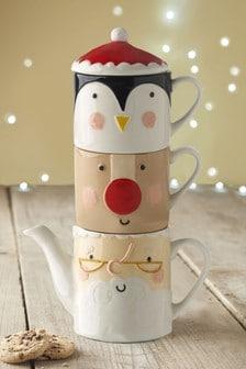 Чайник и кружки с рождественским мотивом (2 шт.)