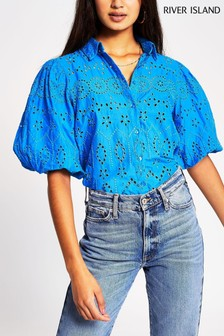 River Island Blue Bright Long Sleeve Broderie Shirt