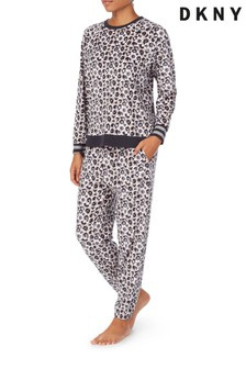DKNY Animal Long Sleeve Top & Jogger Lounge Set