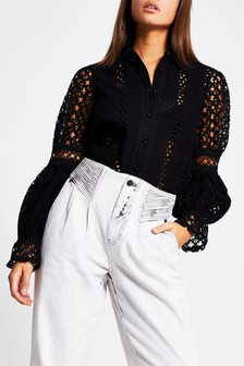 River Island Black Broderie Shirt