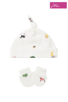Joules White The Hat & Scratch Mitt Set