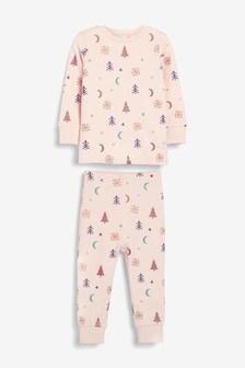 Хлопковый пижамный комплект с принтом и блестящей отделкой (9 мес. - 16 лет)