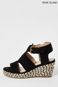 River Island Black Strappy Wedge Sandals