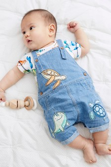 Denim Animal Dungarees And Bodysuit Set (0mths-3yrs)