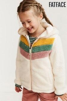 FatFace Natural Chevron Colourblock Zip Through Sweater