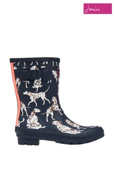Joules Blue Molly Welly Mid Height Printed Wellies
