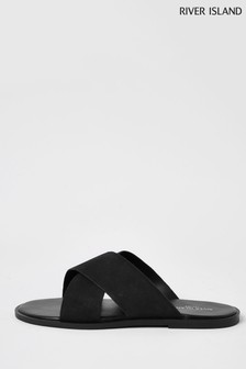 River Island Black Cross Strap Leather Sandals