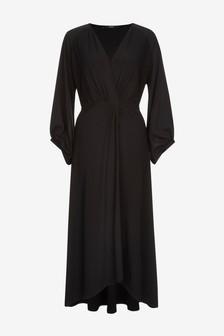 Платье миди с перекрученной отделкой спереди