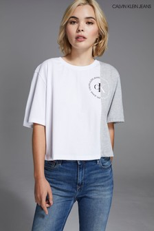 Calvin Klein Jeans Grey Round Logo Colourblock T-Shirt