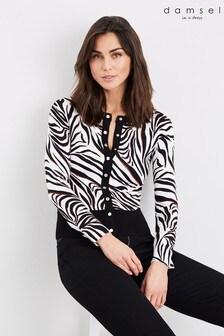 קרדיגן של Damsel In A Dress דגם Desi Zebra בשחור