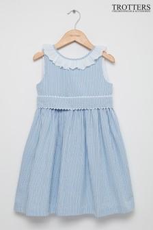 Trotters London Chloe Kleid mit Lochstickerei, Blau