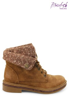 Blowfish Brown Prospector Kenie Vegan Faux Fur And Knit Fold Over Ankle Boots
