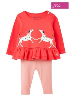 Joules Olivia Top und Leggings mit Dalmatiner-Applikation, Rot