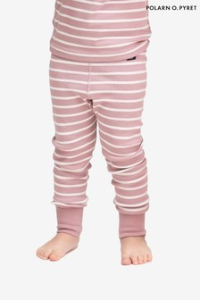 Polarn O. Pyret Purple Organic Cotton Striped Leggings