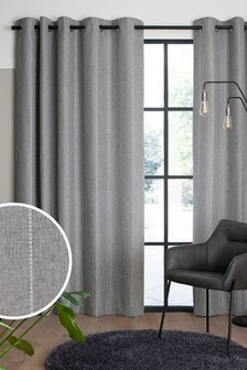 Grey Woven Stripe Eyelet Lined Curtains