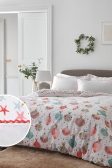 Red 100% Cotton Vintage Ditsy Baubles Duvet Cover and Pillowcase Set