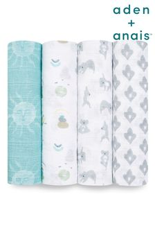מארז של4 שמיכות גדולות לתינוקות מכותנת מוסלין שלaden + anais דגםNow + Zen