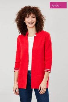 Joules Red Rana Internal Stripe Milano Knit Cardigan