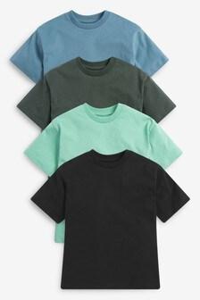 מארז 4 חולצות טי בגזרה רפויה עם שרוול קצר וכתף חשופה (גילאי 3 עד 16)