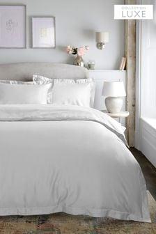 סט ציפה וציפית בלבן של Collection Luxe מ-100% סאטן כותנה בצפיפות300 חוטים